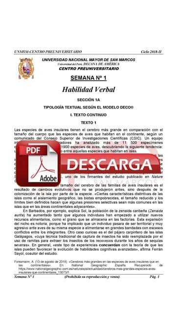 Semana 1 Pre San Marcos 2017-II (UNMSM) PDF Solucionario y Ejercicios