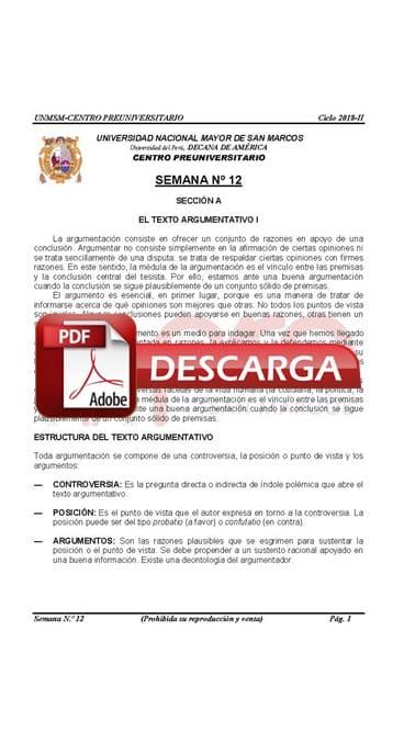 Semana 12 Pre San Marcos 2017-II (UNMSM) PDF Solucionario y Ejercicios