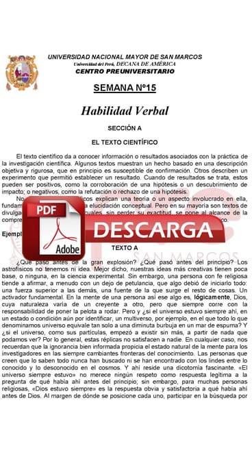 Semana 15 Pre San Marcos 2017-II (UNMSM) PDF Solucionario y Ejercicios