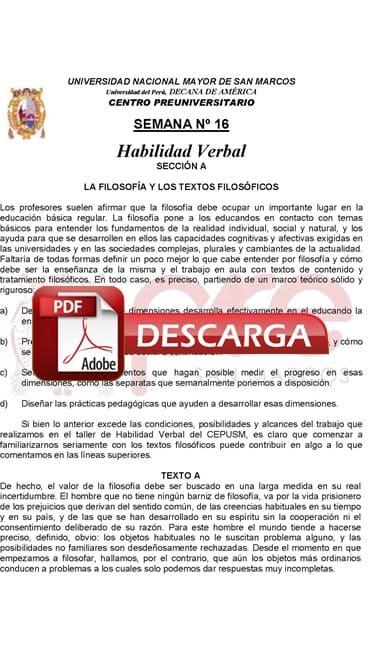 Semana 16 Pre San Marcos 2017-II (UNMSM) PDF Solucionario y Ejercicios
