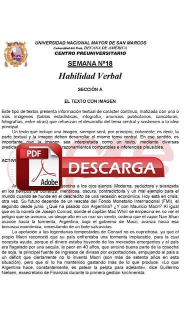 Semana 18 Pre San Marcos 2017-II (UNMSM) PDF Solucionario y Ejercicios