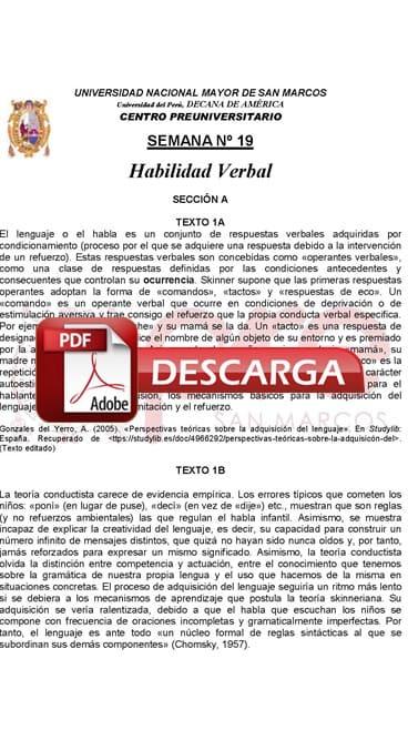 Semana 19 Pre San Marcos 2017-II (UNMSM) PDF Solucionario y Ejercicios