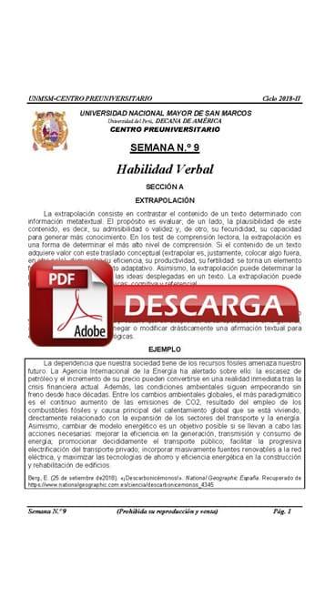 Semana 9 Pre San Marcos 2017-II (UNMSM) PDF Solucionario y Ejercicios